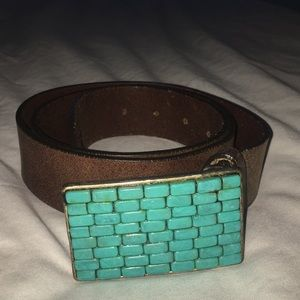 Women's turquoise inlay brown leather belt